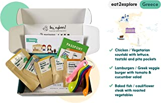 Eat2Explore Explore Greece Food Box – Essential Spice/Sauce/Grain Mixes from Greece/Box Includes 3 Kid-Friendly Recipes, Shopping List for Fresh Ingredients and Cooking Tools/Great Family Activity