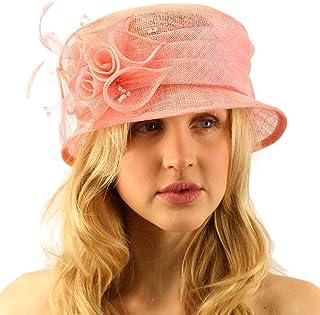db7b5ecead36e Summer Fancy 1920s Flapper Sinamay Trio Floral Cloche Bucket Church Hat