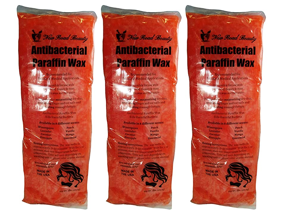 New Road Beauty Antibacterial Orange Mango Paraffin Wax - Moisturize and Smooths Skin - Nourishing and Provides Massage Therapy - Pack of 3