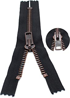 Zipperstop Wholesale YKK Sale 23cm Exposed Zippers YKK 10 Extra Heavy Duty, Antique Copper Finished (Special) Closed Botto...