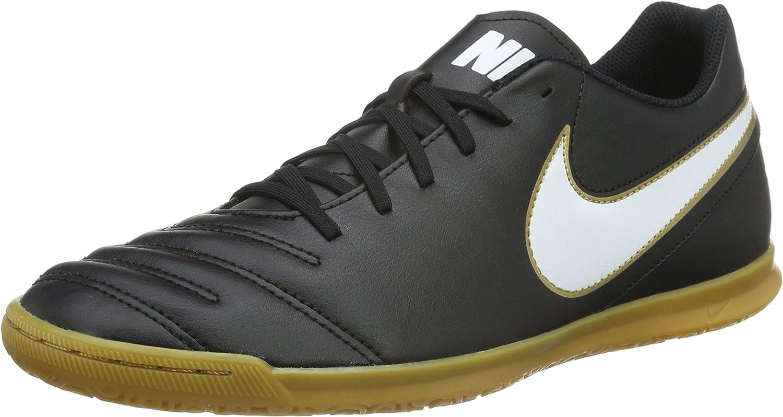Nike Men's Tiempox Rio Iii Ic Footbal shoes, whiteo Dorado (Black White-Metallic gold), 6 UK