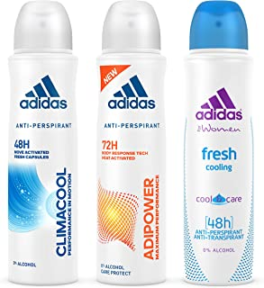 adidas Climacool + Adipower + Fresh Deodorant Body Spray for Women, 3 x 150 ml