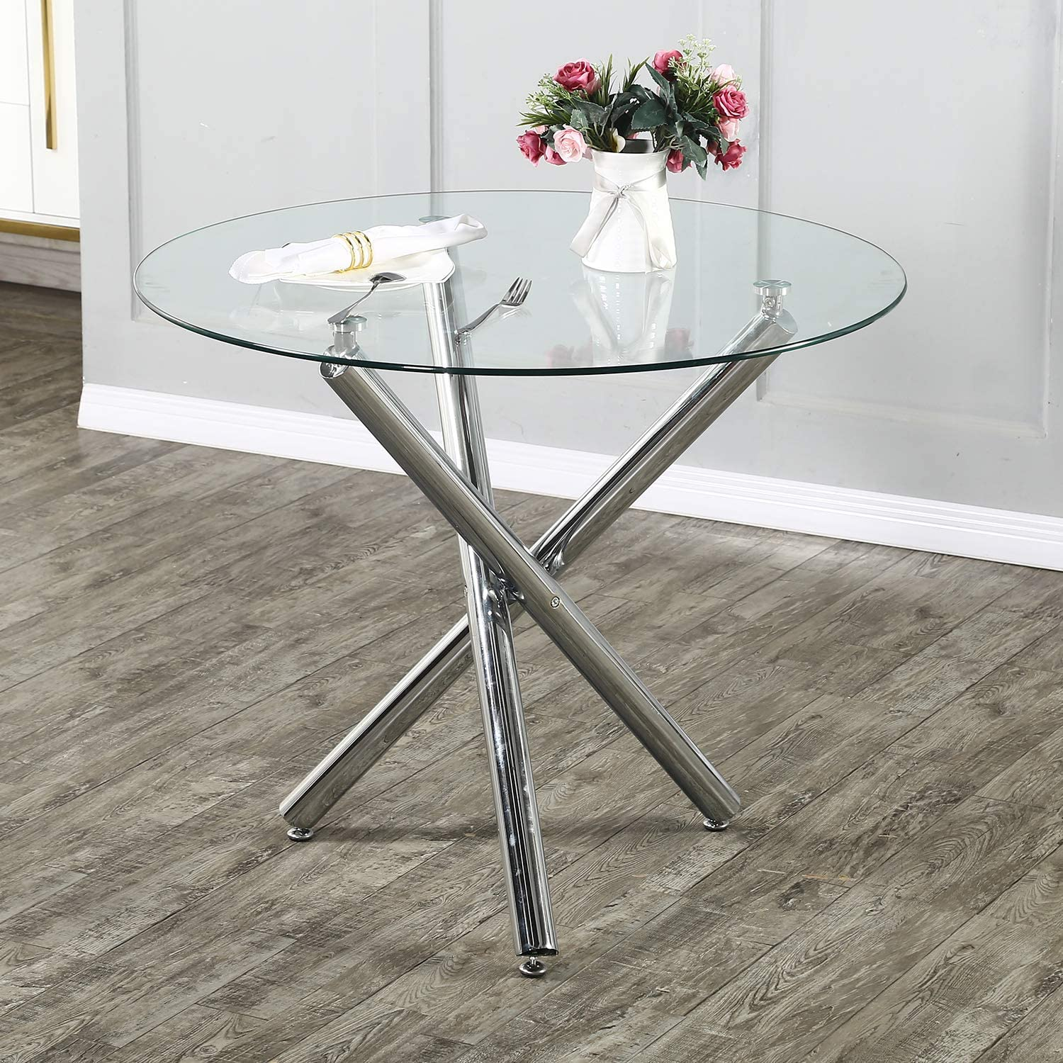 Stylifing Modern Beauty products Round Dining free shipping Table To Baton Glass Kitchen