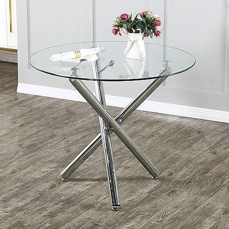 Table à Manger Ronde, Table à Manger Table de Cuisine Petite, Tables à Manger Transparentes, pour Salon Cuisine Table de Salle à Manger Table de Bar Moderne Pieds en métal Table à Manger 90x90x75cm