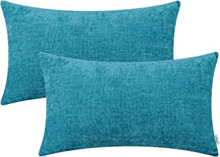 Best CaliTime Pack of 2 Cozy Pillow Covers Cases for Couch Sofa Home Decoration Solid Dyed Soft Chenille 12 X 20 Inches Lake Blue Reviews