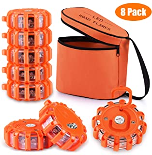 [8 Pack] LED Road Flares Safety Flashing Warning Light Roadside Emergency Disc Beacon Kit for Vehicles Boats with Magnetic Base & Hook, Premium Storage Bag (Batteries Not Included) (8)