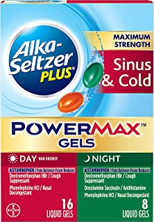 Alka-Seltzer Plus Maximum Strength powermax Liquid Gels, Sinus & Cold Day & Night, 24Count
