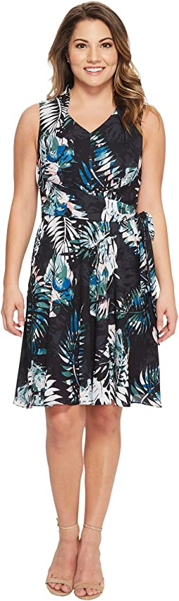 Petite Palm Print Georgette Dress