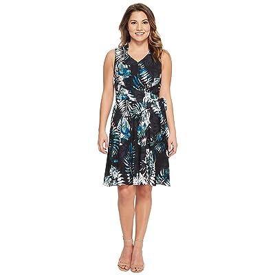 Tahari by ASL Petite Palm Print Georgette Dress (Black/Coral/Blue) Women