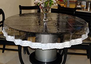 Griiham 60 GSM Thick Transparent Round Table Cover with Heavy Lace Attached - 6 Seater