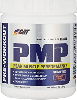 GAT PMP (Peak Muscle Performance), Next Generation Pre Workout Powder for Intense Performance Gains, Stimulant Free Orange Cream 30 Servings (Packaging may vary)