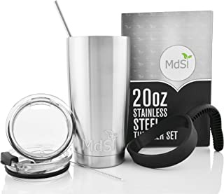20 Ounce Stainless Steel Tumbler [Double Insulated] Travel Mug Water Coffee Cup with Spill Proof Lids, Straw, Brush and Handle [6 Piece Set]& Gift Box - Perfect Travel Coffee Mug for Any Event