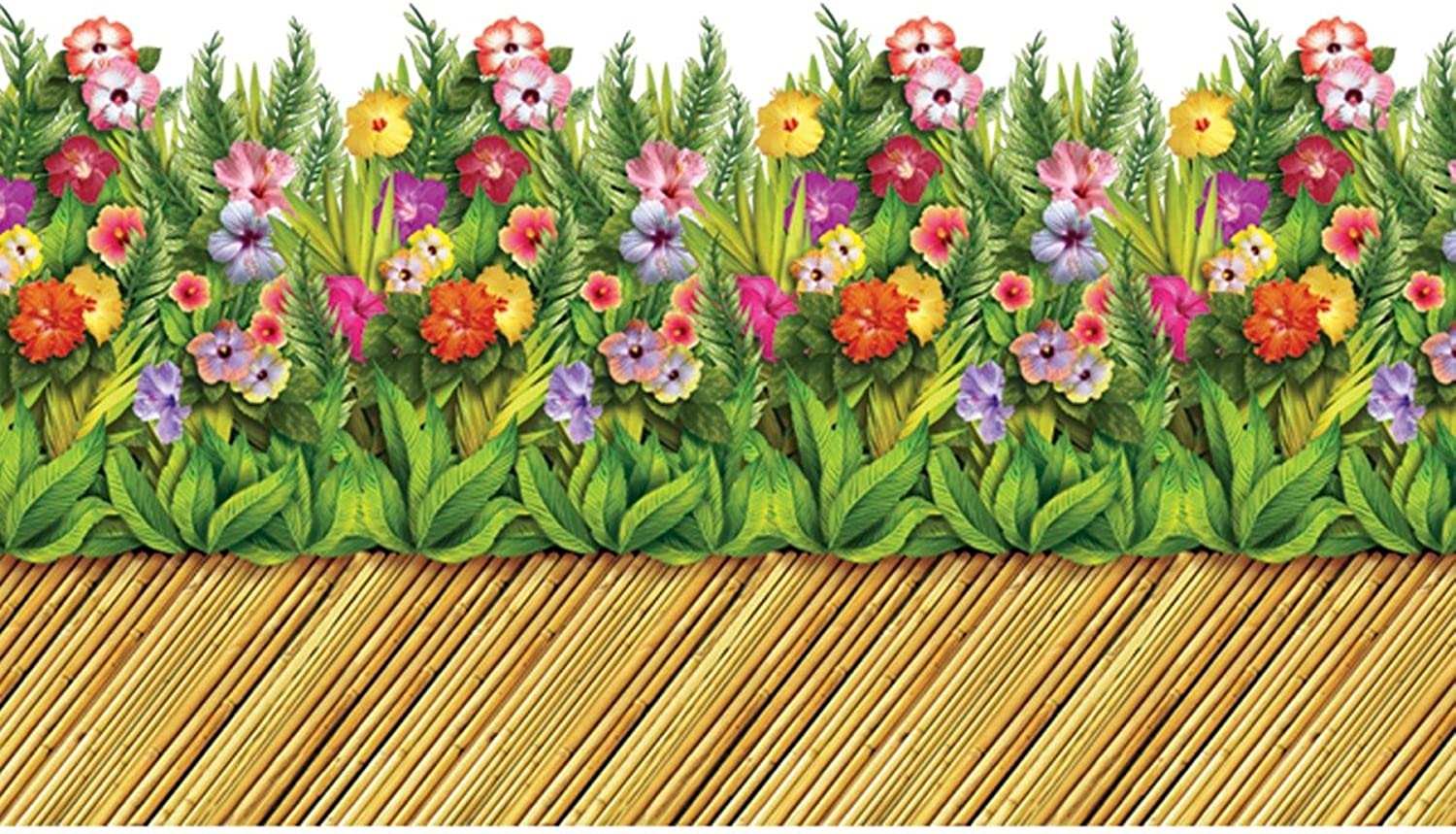 Pack of 6 InstaTheme Tropical Flower and Bamboo Walkway Border Decorations 30'