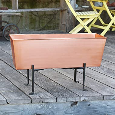 Achla Designs C-09C-S1 Flower Window Box and Stand, Copper and Black
