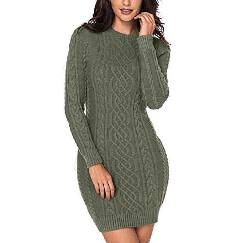 c5b590ac795 LOSRLY Women Crew Neck Long Sleeve Cable Knit Bodycon Sweater Midi Dress