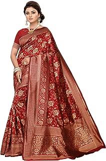 Women's Maroon Jacquard Banarasi Silk Saree with Unstitched Blouse