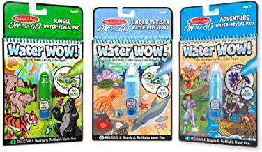 Melissa & Doug On the Go Water Wow! Reusable Color with Water Activity Pad 3-Pack, Jungle, Under the Sea, Adventure, Chunky-Size Water Pens
