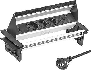Elbe Soporte de escritorio horizontal retráctil, toma múltiple con 3 zócalos alemanes, 2 puertos USB, cable de alimentación de 1,5 m, enchufe alemán, apto para oficinas, salas de reuniones EL4403U