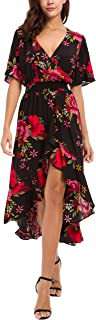 Womens Short Sleeve Floral High Low V-Neck Flowy Party Long Maxi Dress