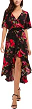 KorMei Womens Short Sleeve Floral High Low V-Neck Flowy Party Long Maxi Dress