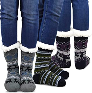 Teehee Womens Soft Premium Thermal Double Layer Crew Socks 3-Pack