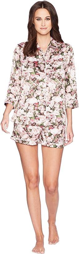 Photoreal Bouquet Satin Short Pajama Set
