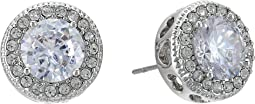 Blue by Betsey Johnson CZ Stone Halo Studs with Pave Crystal Accents Earrings