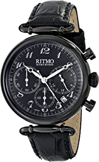 Ritmo Mundo Corinthian Stainless Steel Quartz Watch with Leather Calfskin Strap, 20 (Model: 703/5 Black)