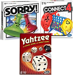Classic Sorry!, Yahtzee, & Connect 4 Bundle | Friends, Family Indoor or Outdoor Party Game|Fun Strategy Board Games for Kids | Ages 6 and Up