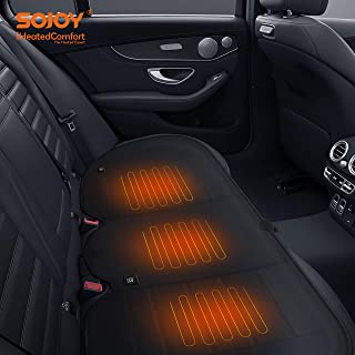 Sojoy Universal 12V Heated Smart Multifunctional Car Seat Heater Heated Cushion Warmer Heated Rear Seat Cushion,Three Seats are Heat High/Low Temp Switch, 45 Minute Timer Leather (Black) SJ190R007