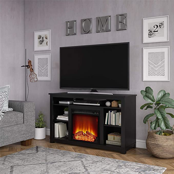 """Ameriwood Home Edgewood Fireplace 55"""", Black TV Stand"""