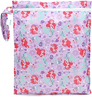 Bumkins Disney Waterproof Wet Bag 12x14, Washable, Reusable for Travel, Beach, Pool, Stroller, Diapers, Dirty Gym Clothes, Wet Swimsuits, Toiletries, Electronics, Toys - Ariel