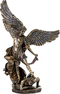 Top Collection Archangel St. Michael Statue - Michael Archangel of Heaven Defeating Lucifer in Premium Cold-Cast Bronze - 14.5-Inch Collectible Angel Figurine
