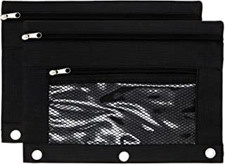 Binder Pencil Pouch Zipper with 3 Ring and Double Pocket and Mesh Window(Black,2 Pack)