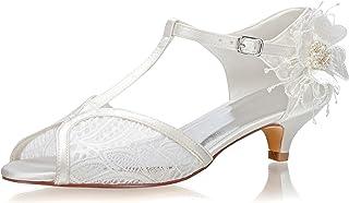 JIAJIA 01135 De Las Mujeres Zapatos de Novia Peep Toe Correa en T Tacón bajo Cordón Satín Flor Zapatillas Zapatos de Boda