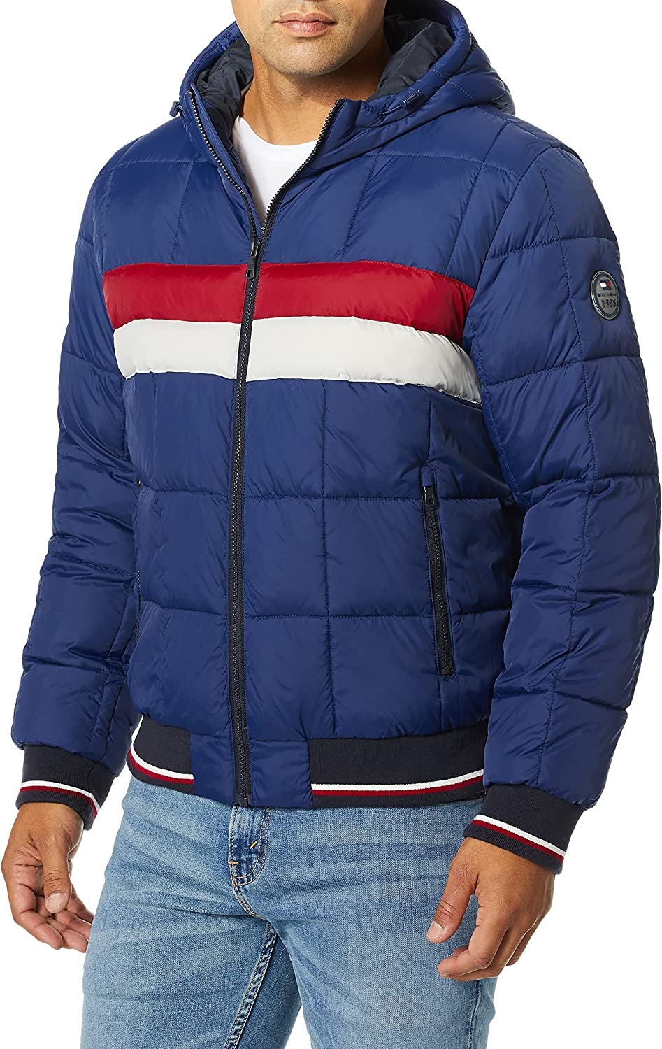 Tommy Hilfiger San Jose Mall Max 56% OFF Men's Quilted Colorblock Jack Bomber Hoody Puffer