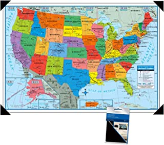 Motiv USA mit St/ädten 102 x 61 cm 1 Map With Repositionable Adhesive Poster Corners Superior Mapping Company Wandkarte