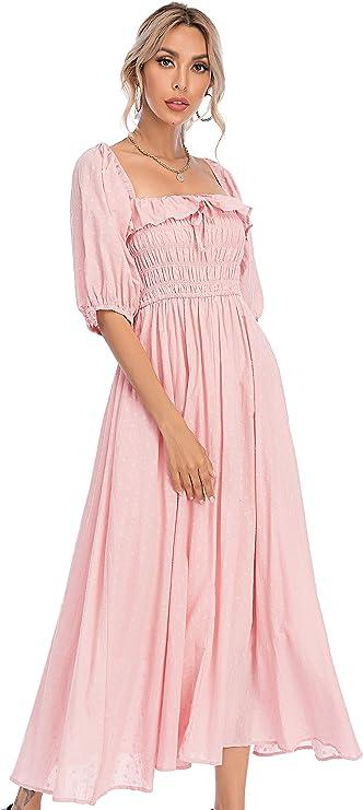 Old Fashioned Dresses | Old Dress Styles R.Vivimos Women Summer Half Sleeve Cotton Ruffled Vintage Elegant Backless A Line Flowy Long Dresses $32.99 AT vintagedancer.com
