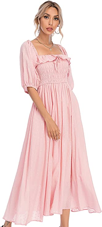 70s Clothes | Hippie Clothes & Outfits R.Vivimos Women Summer Half Sleeve Cotton Ruffled Vintage Elegant Backless A Line Flowy Long Dresses $32.99 AT vintagedancer.com