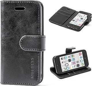 Mulbess Funda iPhone 5c [Libro Caso Cubierta] [Vintage de Billetera Cuero] con Tapa Magnética Carcasa para iPhone 5c Case, Negro