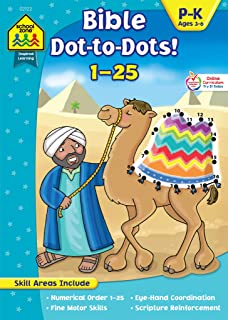 School Zone - Bible Dot-to-Dots! Numbers 1-25 Workbook - Ages 3 to 6, Preschool to Kindergarten, Christian Scripture, Old & New Testament, Connect the Dots, and More (Inspired Learning Workbook)