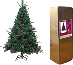 SHATCHI SHATCHI-721 7ft Artificial Christmas Tree Naturally Decorated with Pine Cones and Barries with Frozen Tips, Green