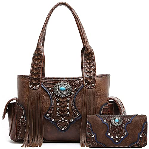 Western Style Cowgirl Fringe Concealed Purse Conchos Totes Country Women Handbag  Shoulder Bags Wallet Set 8ba7a063df059