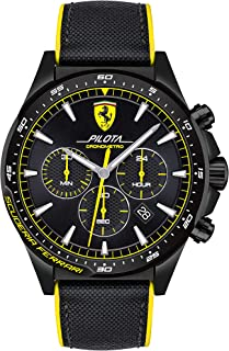 Scuderia Ferrari MEN'S BLACK DIAL YELLOW SILICON & BLACK NYLON WATCH - 830622