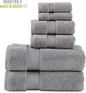 """703 GSM 6 Piece Towels Set, 100% Cotton, Zero Twist, Premium Hotel & Spa Quality, Highly Absorbent, 2 Bath Towels 30"""" x 54"""", 2 Hand Towel 16"""" x 28"""" and 2 Wash Cloth 12"""" x 12"""". Alloy Color"""