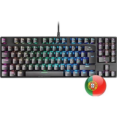 MARSGAMING MKREVOPRO, Teclado Gaming RGB Mecánico, TKL+ NUM, Switch Azul, Portu