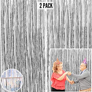Silver Foil Fringe Curtain Backdrop (2 Pack) - 9.8 x 3.3 ft Photo Booth Backdrop Curtain for Parties - Tinsel Curtain Frin...