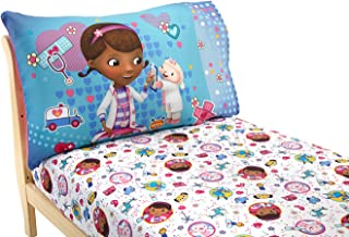 Disney Doc McStuffins 2 Pack Fitted Sheet and Pillowcase Toddler Sheet Set, Pink/Blue/White