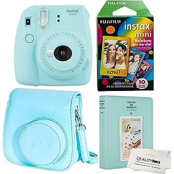 Fujifilm Instax Mini 9 Polaroid Ice Blue Instant Camera Plus Original Fuji Case, Photo Album and Fujifilm Character 10 Films (Rainbow)