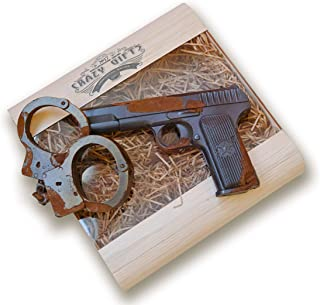IronChoco Chocolate Pistol and Handcuffs Real Size Solid in Handmade Gift Box, 12.7 oz - Birthday Gift for Men and Women, Police Gift, Fun gift